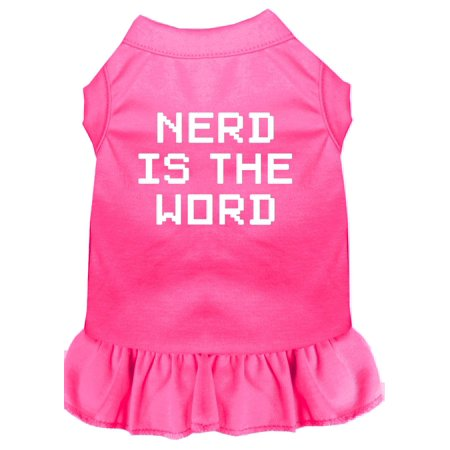 Nerd Is The Word Screen Print Dress Bright Pink Sm (10)