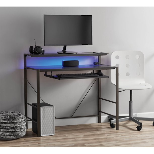 Mainstays Computer Gaming Desk With LED Lights - Walmart.com