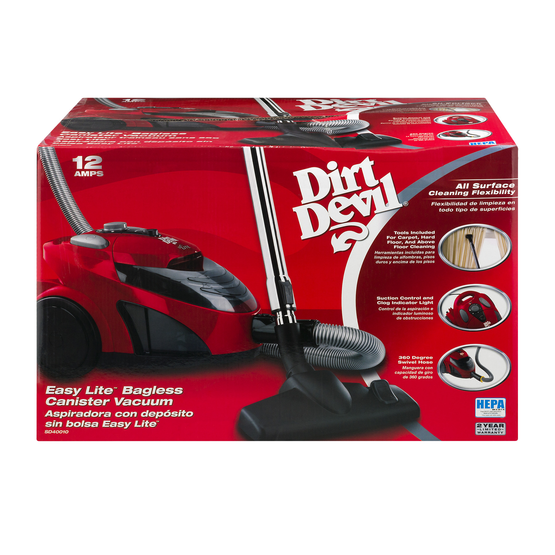 Dirt Devil Easy Lite Bagless Canister Vacuum, 1.0 CT