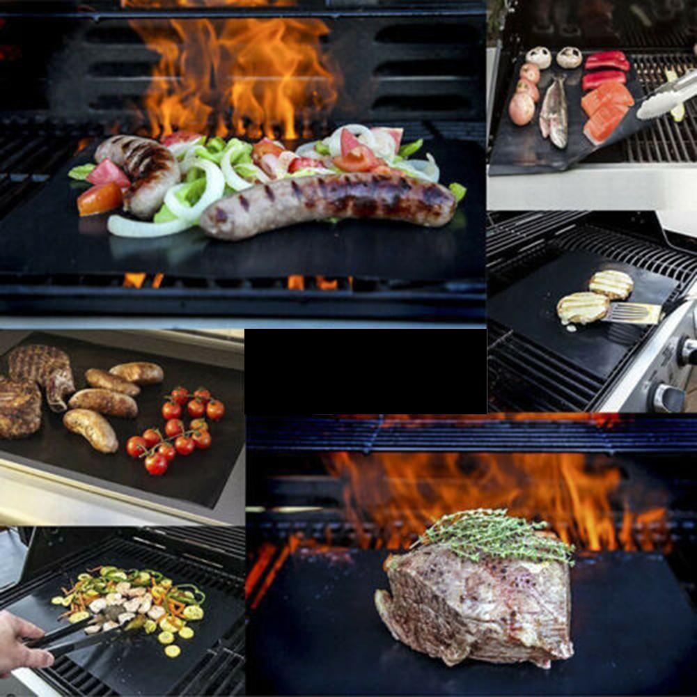 3pcs BBQ Grill Mat Non-Stick Cook Bake Grilling Mats Barbecue Pad Teflon Fiber