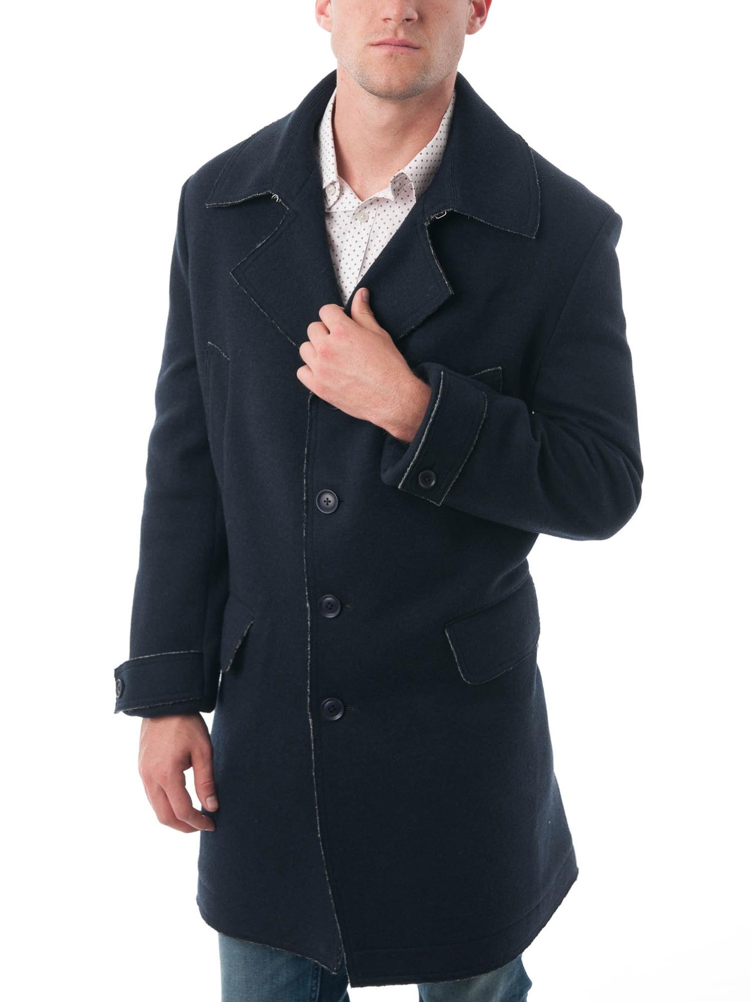 Men's Navy Blue Rough Selvedge Wool Blend Car Coat by Overstock