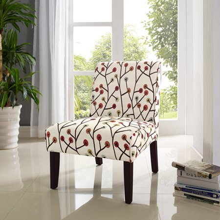 . Dorel Living Teagan Armless Accent Chair  Floral Pattern