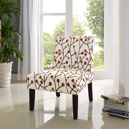 Great Dorel Living Teagan Armless Accent Chair, Floral Pattern