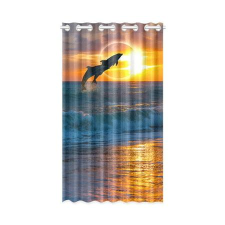 MKHERT Beach Sunset Dolphins Window Curtain Living Room,Bedroom Window Drapes 52x84 inch Dolphin Crystal Curtain