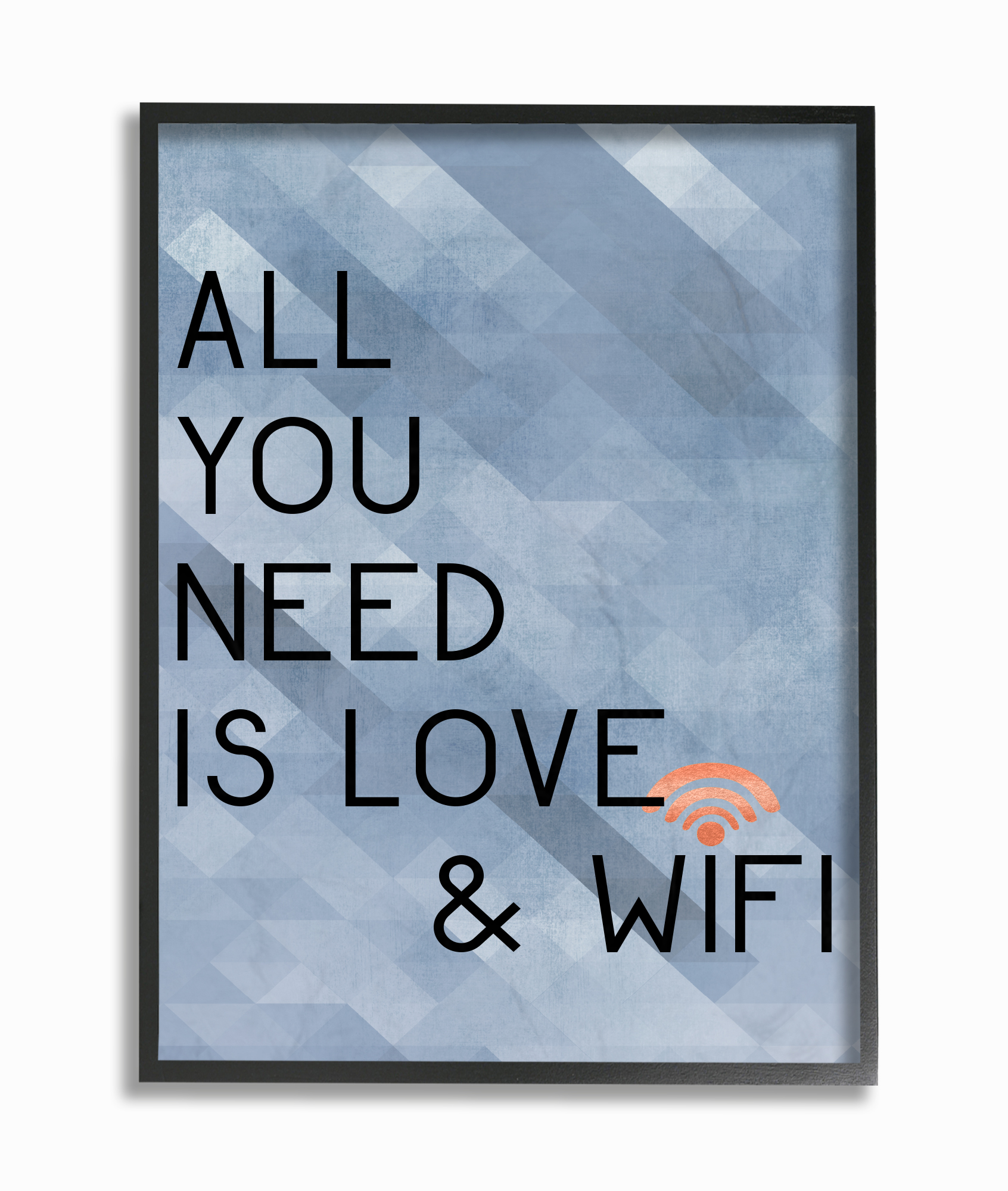 The Stupell Home Decor Collection All You Need is Love and WiFi Blue Typography Oversized... by Stupell Industries