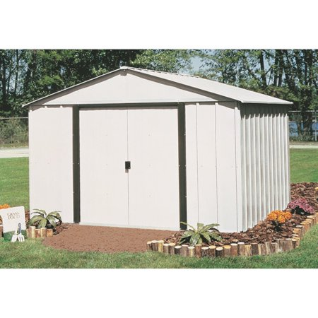 Arlington 10 x 12 ft. Steel Storage Shed Eggshell/Coffee (Metal Sled)
