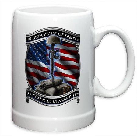 German Beer Stein – US Marine Corps Gifts for Men or Women – High Price Of Freedom Stoneware Beer Stein – USMC Beer Glasses with Logo - Set of 4 (20 Ounces)