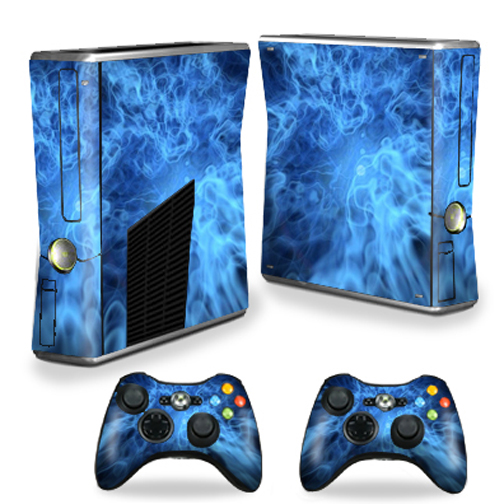 Mightyskins Protective Vinyl Skin Decal Cover for Microsoft Xbox 360 S Slim + 2 Controller skins wrap sticker skins Blue Mystic