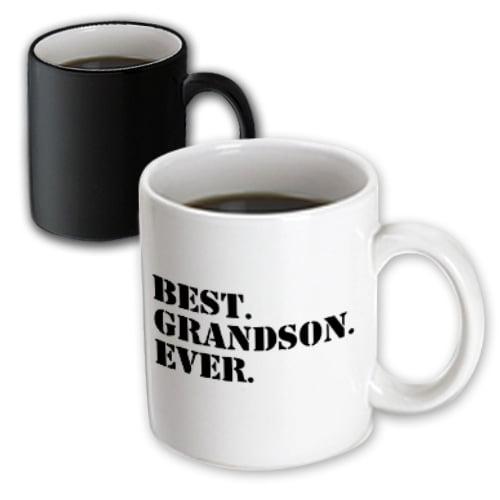3dRose Best Grandson ever Gifts for Grandkids Grandchildren black text, Magic Transforming Mug, 11oz by 3dRose