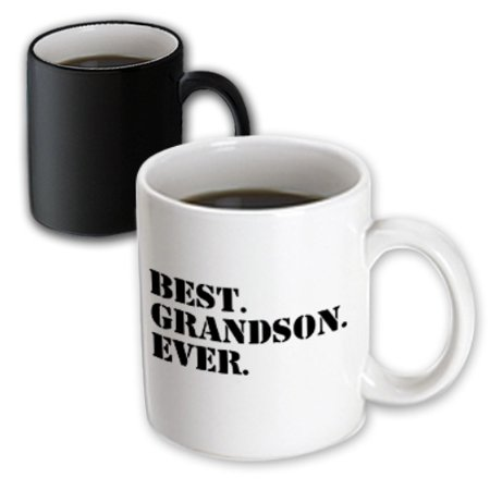 3dRose Best Grandson ever - Gifts for Grandkids - Grandchildren - black text, Magic Transforming Mug,