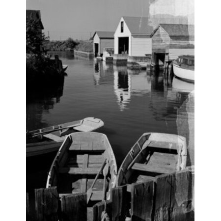 USA New York City Long Island boats and boathouses Stretched Canvas -  (18 x - Party City Long Island City