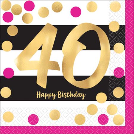 Over the Hill 'Hot Pink and Gold' 40th Birthday Lunch Napkins - 40th Napkins