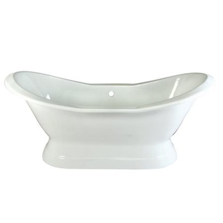 72 in. Cast Iron Double Slipper Pedestal Bathtub without Faucet Drillings, White