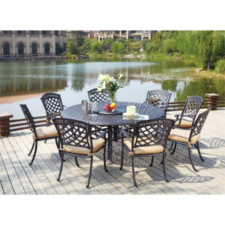 Darlee Sedona 10 Piece Patio Dining Set with Cushion-Mocha ()