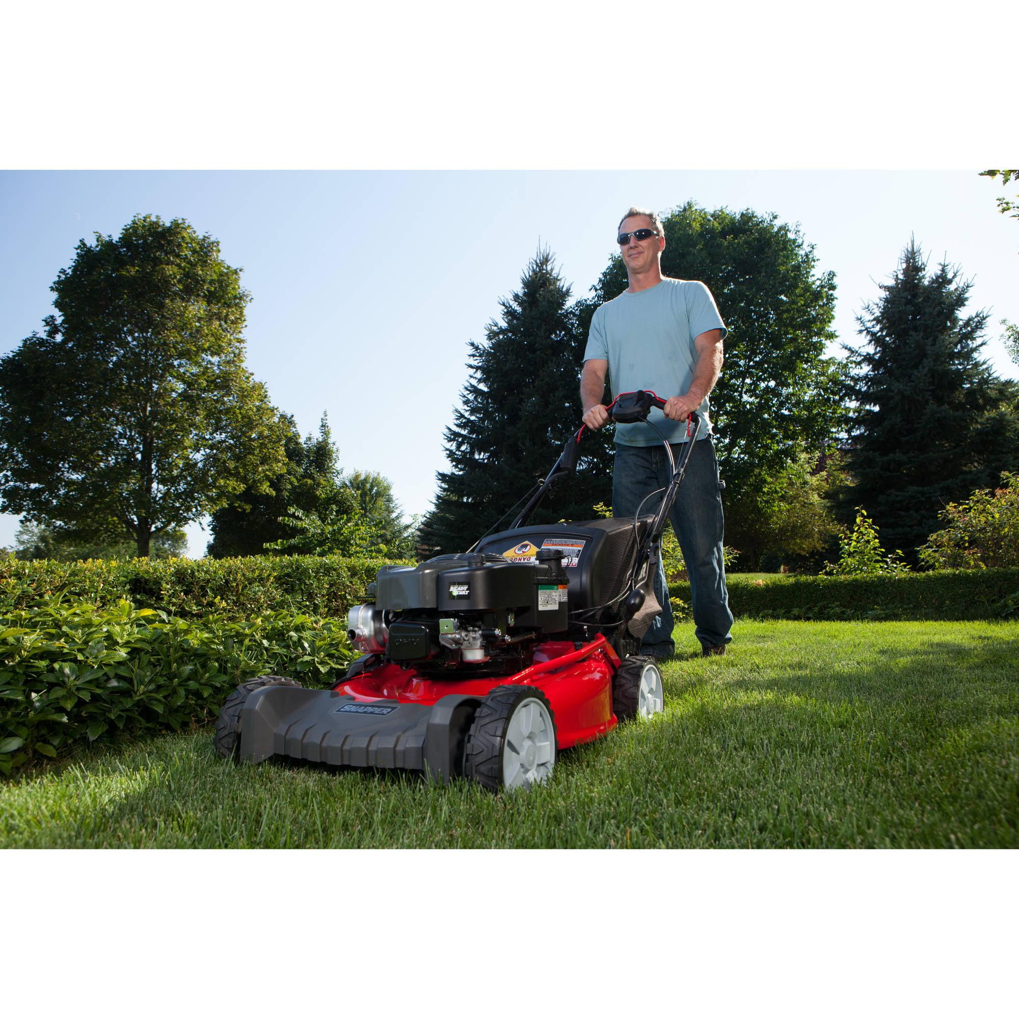 "snapper 21"" self propelled gas rear wheel drive mower with side"