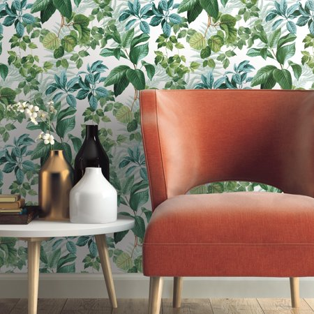 - Rainforest Green Leaves Peel and Stick Wallpaper