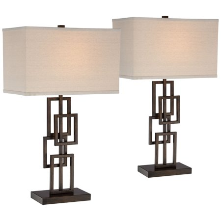 360 Lighting Modern Table Lamps Set Of 2 Dark Bronze Metal Geometric Base Rectangular Shade For Living Room Family Bedroom Office