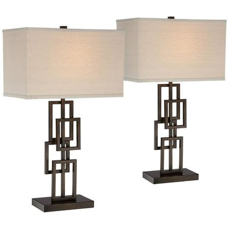 360 Lighting Modern Table Lamps Set Of 2 Dark Bronze Metal