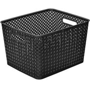 "Resin Wicker Storage Tote, Large 13.75"" x 11.50"" x 8.75"", Basket Weave"