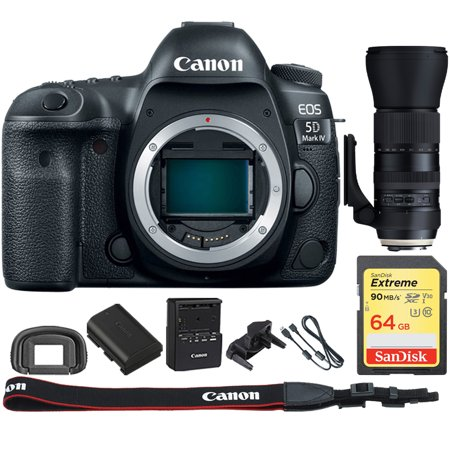 Canon EOS 5D Mark IV CMOS DSLR Camera (Body) Wi-Fi NFC 4K Video w/Bundle Includes,Tamron SP 150-600mm F/5-6.3 Di VC USD G2 Zoom Lens for Canon Mounts + Sandisk 64GB Extreme SD Memory UHS-I