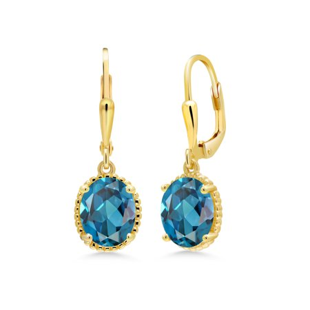 3.60 Ct Oval London Blue Topaz 18K Yellow Gold Plated Silver (18k Yellow Gold Citrine Earrings)