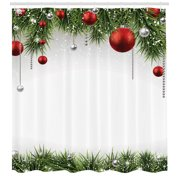 Christmas Shower Curtain, Classical Christmas Ornaments and Baubles Coniferous Pine Tree Twig Tinsel Print, Fabric Bathroom Set with Hooks, Green Red, by Ambesonne