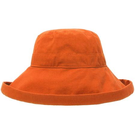 Ladies' Cotton Summer Beach Sun Hat with Wide Fold-Up Brim Orange