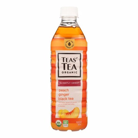 Tea's Organic Black Tea - Lightly Sweet Peach Ginger - Pack of 12 - 16.9 Fl (Sweet Peach)