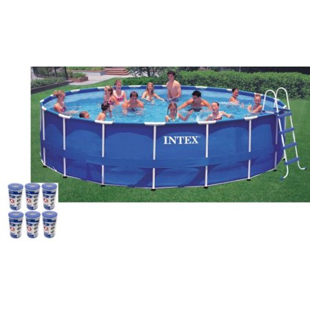 "Intex 18' x 48"" Metal Frame Swimming Pool Set with 1500 GFCI Pump 