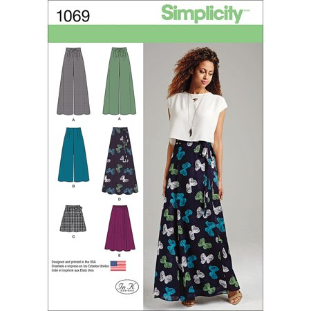Simplicity Misses' Size 4-12 Wide Leg Pants, Shorts & Skirts Pattern, 1