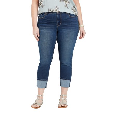 Plus Size DenimFlex TM High Rise Double Button Cuffed Cropped (Cropped High Rise)