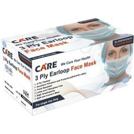 High Latex Free Wall (50 pc 3-ply Blue Earloop Face Mask Disposable, High Breathability, Pleated, Latex and Fiberglass free, Medical Grade Masks, Medical Grade 3-Ply Face Masks By Care Plus)