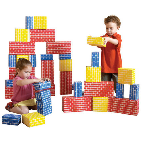 Childcraft Corrugated Blocks, Blue, Red and Yellow, 84 Assorted Sizes