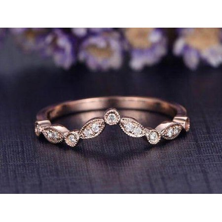 0.25 Carat Ring Wedding Band with Diamonds Anniversary Ring Antique Flower V Design Antique Style Band with 18k Gold Plating