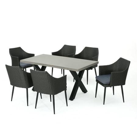 Maccie Outdoor Piece LightWeight Concrete Dining Table Set With - Concrete dining table and chairs