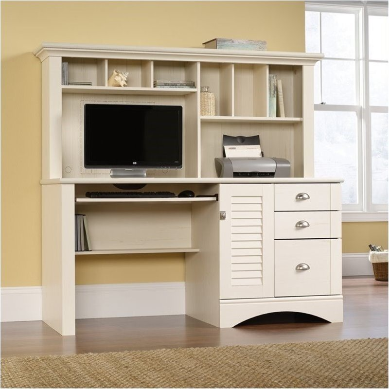 Bowery Hill Computer Desk with Hutch in Antiqued White