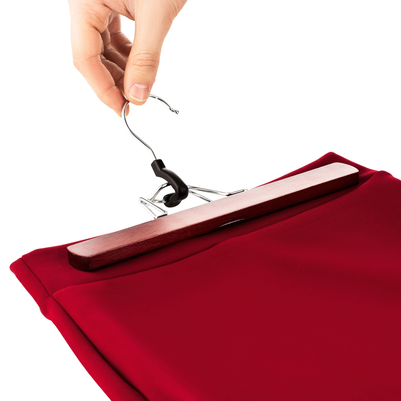 10 Pack High-Grade Wooden Pants Hangers with Clips Non Slip Slack Skirt Hangers