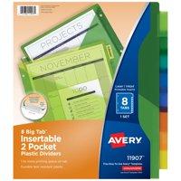 Avery Big Tab Insertable Two-Pocket Plastic Dividers, 8-Tab Set, Multicolor (11907)