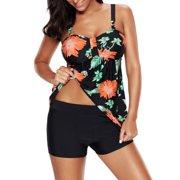 S-XXXXL Plus Size Women Tankini Set Two-Piece Swimsuit, Braces Swim Top+Shorts, Swim Dress Swimwear Push-up Beachwear Bathing Swimming Suit Beachwear  Black M
