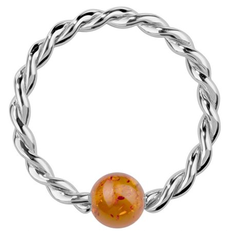 Twisted Captive Bead Ring - Baltic Amber 14K White Gold Twisted Captive Bead Ring