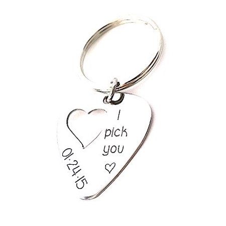Personalized Guitar Pick Keychain with Heart Cut Out - Custom Key chain - I pick you