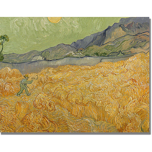"Trademark Fine Art ""Wheatfields with Reaper"" Canvas Art by Vincent van Gogh"