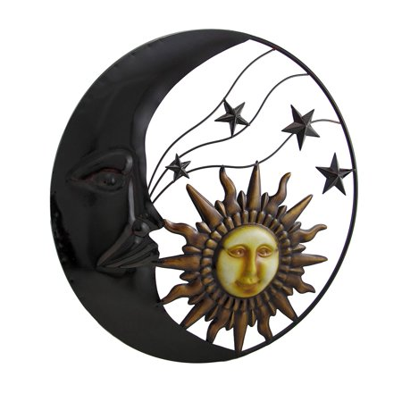 Sun Hanging Metal Decor (Celestial Metal Moon Sun and Stars Wall Art Hanging)
