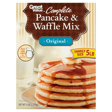(4 Pack) Great Value Complete Original Pancake & Waffle Mix Family Size, 5 lb