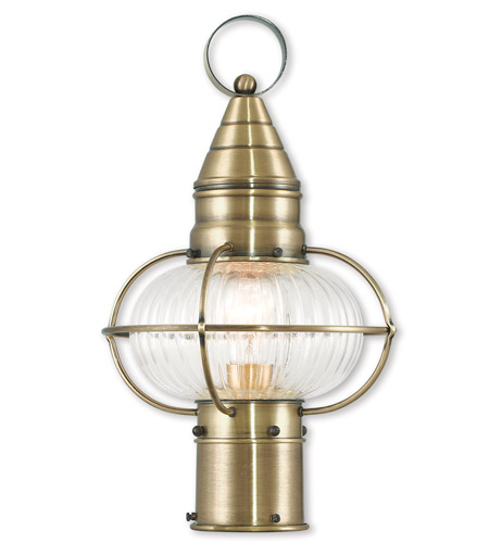 Outdoor Post 1 Light With Hand Crafted Solid Brass Hand Blown Fluted Clear Antique Brass size 15 in 100 Watts - World of Crystal