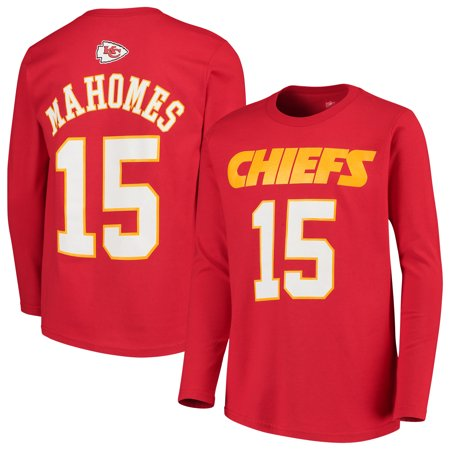 Patrick Mahomes Kansas City Chiefs Youth Mainliner Name & Number Long Sleeve T-Shirt - (Sorority Long Sleeve Shirts With Name On Back)
