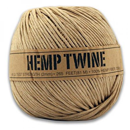 Hemp Twine - 48 LB. Test - 2mm - 265 Feet - 200g - 100% Hemp Fibers