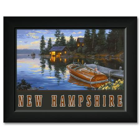 (New Hampshire Criscraft Boat Dock Framed Art Print by Darrell Bush. Print Size: 9