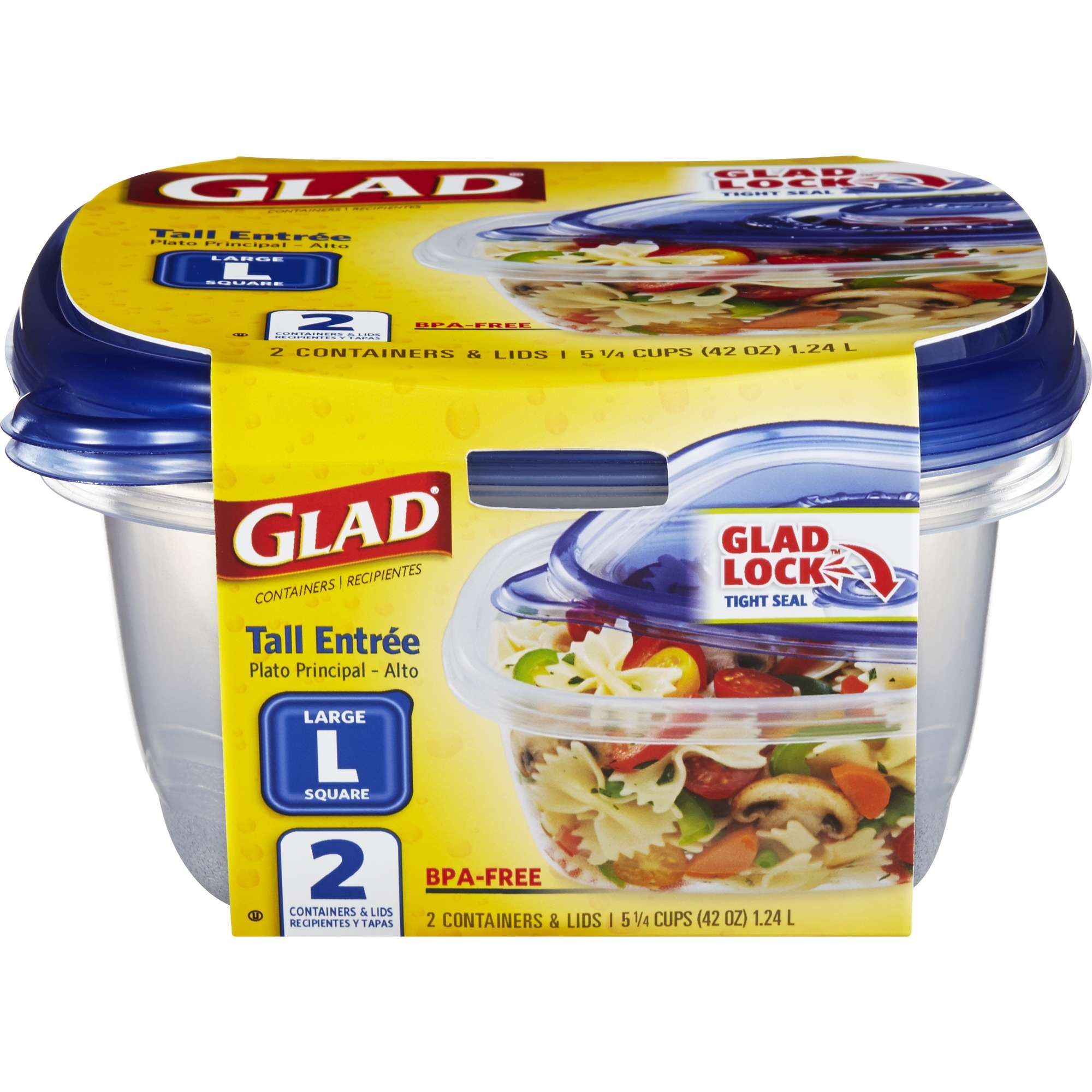 Glad Food Storage Containers, Tall Entrée Containers, 42 Oz, 2 Ct