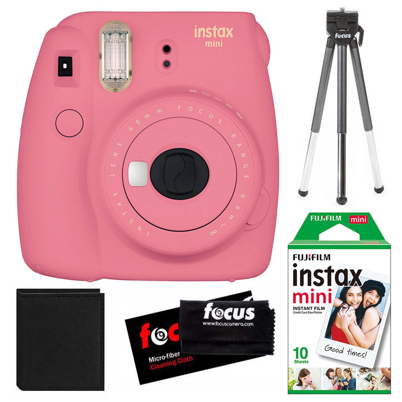 Fujifilm instax mini 9 Instant Film Camera (Flamingo Pink) + Tripod + Accessory Kit